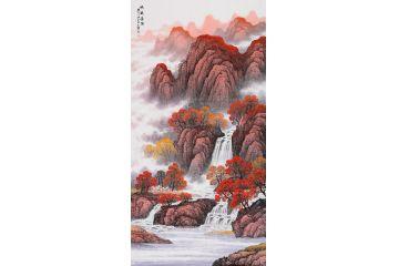 王宁四尺竖幅国画山水画佳作《鸿运当头》一粒朱砂 万山红遍 福泽千秋图片