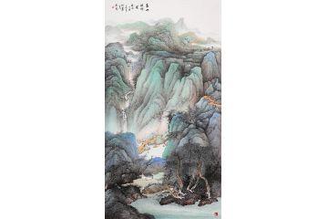 【推薦力作】中國美協趙洪霞六尺豎幅山水畫《春山溪水圖》