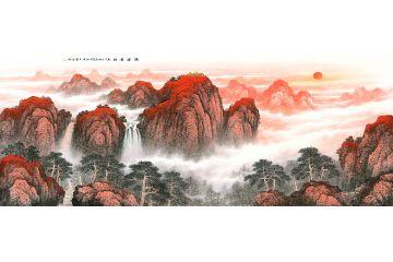 王寧最新力作六尺橫幅泰山風水畫《鴻運當頭》