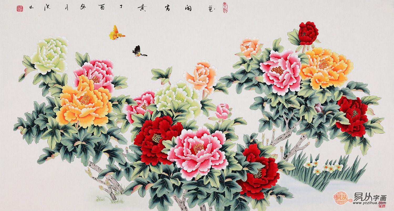 张洪山工笔画牡丹图《花开富贵》