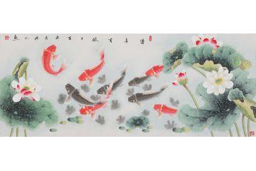 張洪山最新六尺橫幅九魚聚財圖《連年有余》
