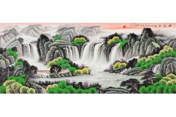 李林宏青綠國畫聚寶盆C款作品《源遠流長》