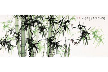 張利六尺橫幅國畫竹子圖《竹報平安》