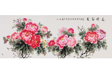 國家一級美術師張利寫意牡丹圖《花開富貴》