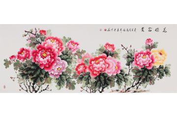張利六尺橫幅新品牡丹圖《花開富貴》