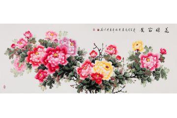 客廳裝飾畫 張利新品富貴牡丹圖《花開富貴》