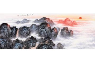 【精選】王寧最新力作六尺橫幅泰山《旭日東升》