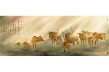 中國美術家協會會員藍健康八尺橫幅作品《晨曦》