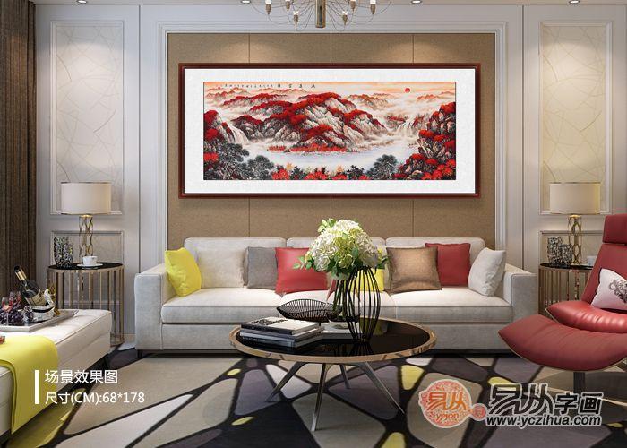 沙发背景墙挂画 李林宏红色聚宝盆《鸿运当头》
