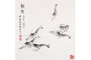 【齊派藝術品】齊白石后人樸喆斗方作品《蝦趣》
