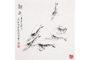 【齊派藝術品】齊白石后人樸喆斗方畫《蝦趣》