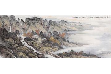 画家余静六尺横幅山水画作品《树木有春意 江山如故人》