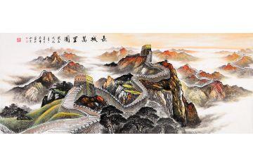 國畫長城圖 蔣偉山水畫作品《長城萬里圖》