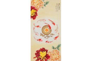 國家一級美術師王一容牡丹九魚圖《家和富貴》