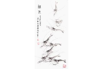 齊白石后人樸喆老師豎幅國畫蝦作品《蝦趣》