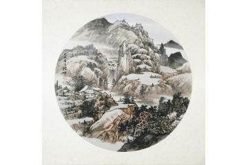 客廳裝飾畫小品 林德坤最新斗方山水畫《山里人家》