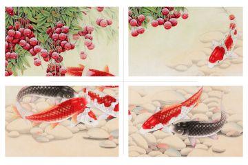 《红荔九鱼图》
