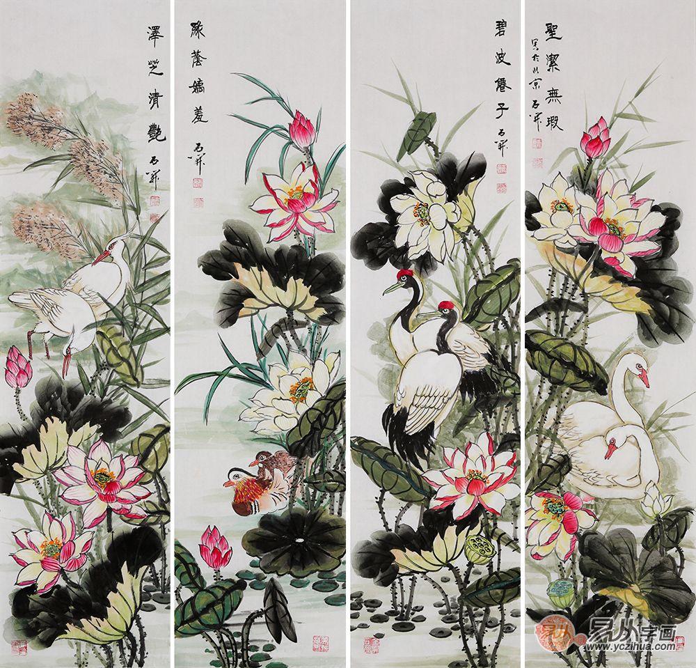 茶楼挂什么画好 国画花鸟画装饰独特韵味的茶室空间