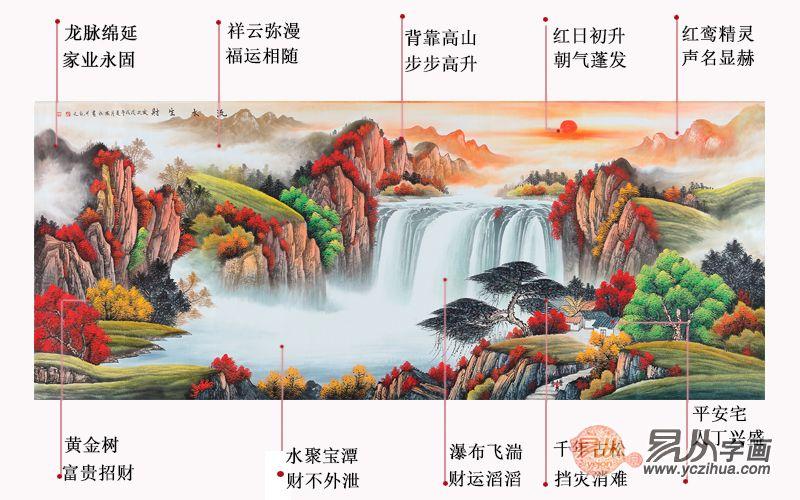 旺财图 刘燕姣手绘八尺山水画作品《流水生财》来源:易从网