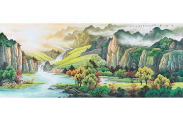 青绿山水画 刘燕姣新品八尺山水画《湖光春色》