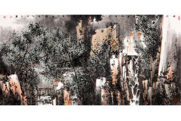 實力派畫家鞠占圃寫意山水畫《溪深將謂人靜》