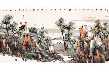 寫意山水畫 實力派畫家鞠占圃四尺橫幅《紫燕紅香》