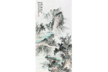 李佩錦最新山水畫《座攬清輝萬川月 胸涵和氣四時春》