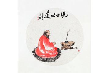 國畫人物畫 吳大愷新作斗方畫《境由心造》