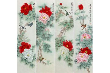 羽墨老師新品牡丹四條屏《富貴滿堂》