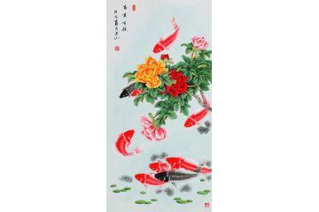 國家一級美術師張洪山牡丹九魚圖《富貴有余》