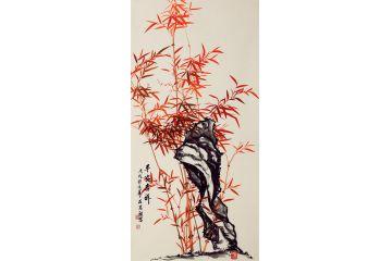 國家一級美術師石榮祿四尺豎幅竹子圖《平安吉祥》