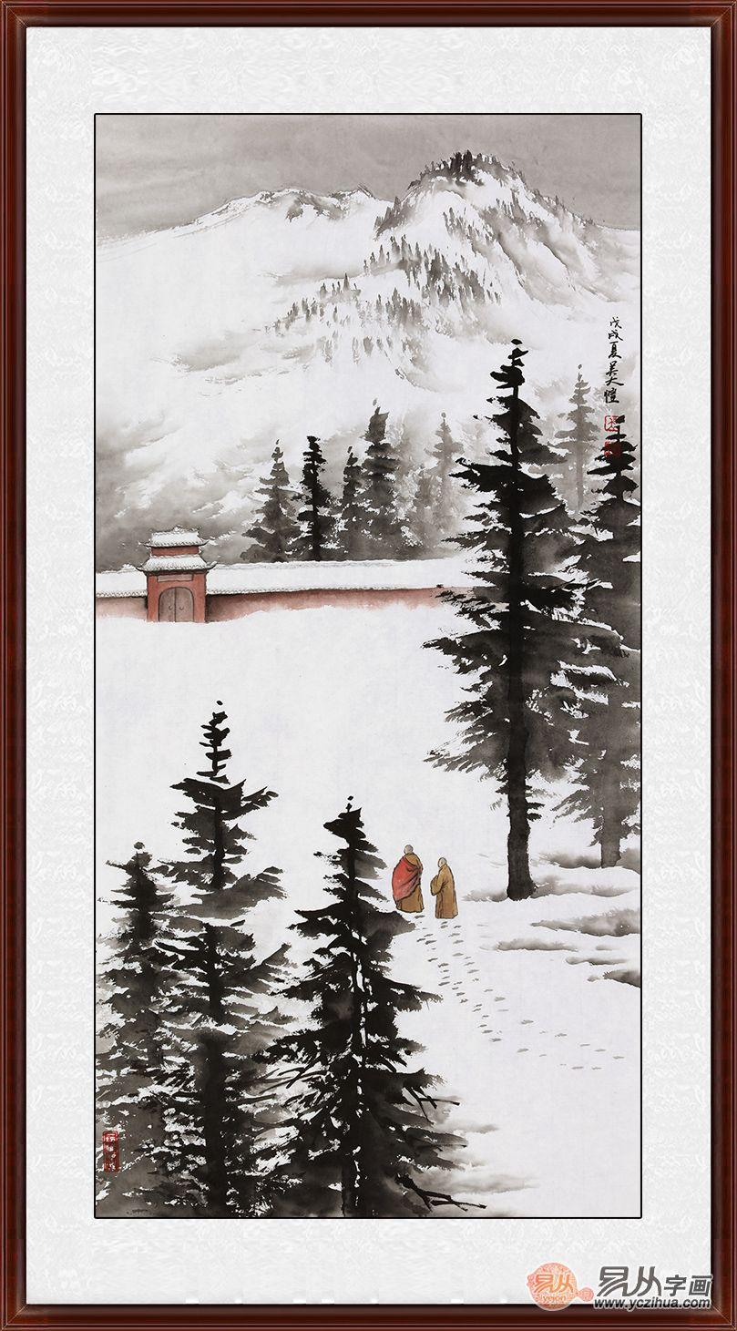 禅意山水画 吴大恺新品国画《雪中何止半禅境》图片