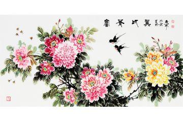 國禮書畫家石開寫意牡丹圖《富貴比翼》