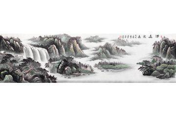 蔣偉最新八尺橫幅寫意山水畫作品《源遠流長》