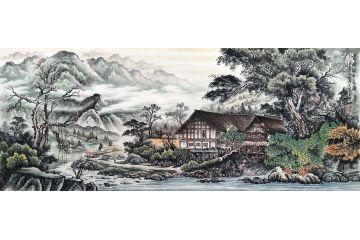 人間盛景圖 易天也最新山水畫作品《云間樹千花滿》
