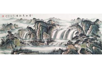 聚寶盆裝飾畫 蔣偉最新八尺山水畫《青山泉韻圖》