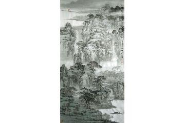 林德坤新品力作四尺豎幅國畫《千峰頂上直通云》