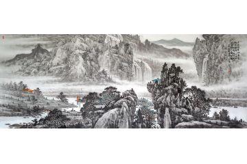 林德坤新品國畫《千尋絕壁欲摩空 竟有橫斜三兩松》