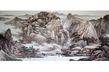 電視臺專訪畫家林德坤新品山水畫《云外鐘聲萬壑泉》