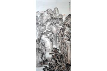 典藏 林德坤六尺豎幅山水畫作品《仙閣秋韻》