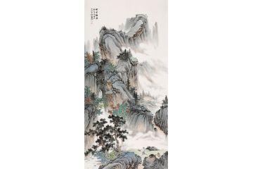 【新品】李佩錦仿古山水四尺豎幅《煙云觀瀑》