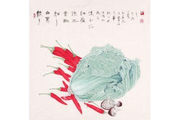 日日生財百財圖 王一容新品斗方畫《綠了白菜紅了青椒》