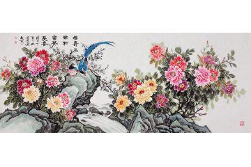 石開老師精美國畫牡丹圖《福壽祥和富貴長春》