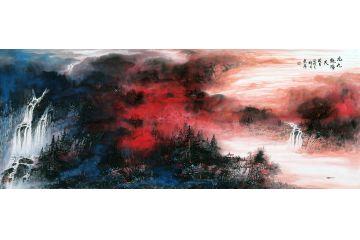 中國美協畫家趙洪霞新品潑彩山水畫《九九艷陽天》