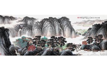 許吉爾精心力作六尺橫幅山水畫作品《福地會友圖》