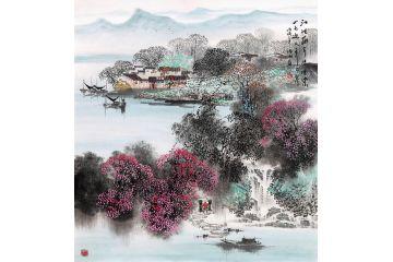 餐廳裝飾畫 諸明《江波蘸岸綠堪染 山色迎人秀可餐》