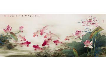 中美協會員藍健康荷花九魚圖《和諧有余》