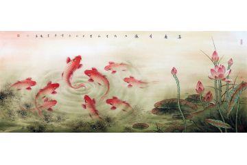 中美協會員藍健康新品荷花九魚圖《喜慶有余》
