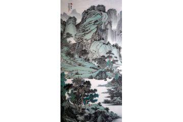 林德坤最新力作四尺豎幅國畫作品《溪山積翠》