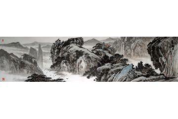 林德坤最新寫意四尺橫幅國畫作品《觀瀑圖》